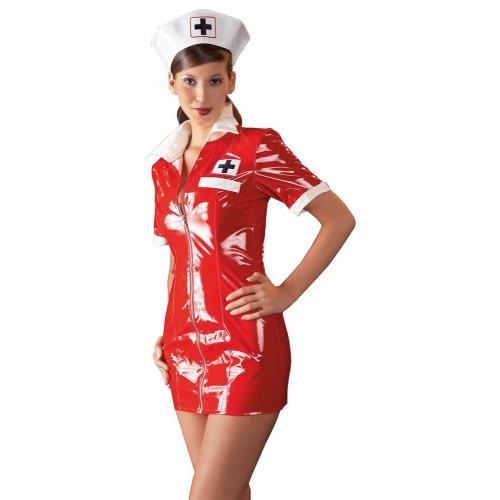 Sykepleieruniform i Rød Lakk