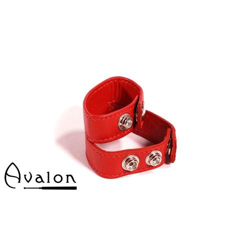 Avalon - PATIENCE - Dobbel penis og pungring i lær - Rød