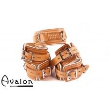 Avalon - LUST - Collar og Cuffs, 5 deler, Brunt og Hvitt