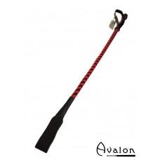 Avalon - LANCE - Klassisk Ridepisk i Lær - Rød og Sort