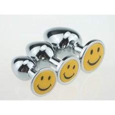 BQS - Buttplug i Metall med Smilefjes, Large