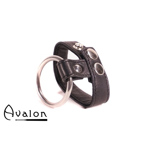 Avalon - NOBLE - Penisring i Metall og Reim til Pung i Lær - Sort