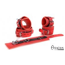 Avalon - EXILE - Cuffs og Collar sett Rødt og Svart glatt Lær