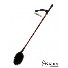 Avalon - UNICORN - Ridepisk med pels flipp - Sort