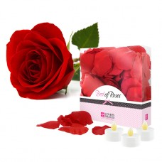 Lovers - Bed of Roses - Gaveeske med 100 roseblader og led-telys