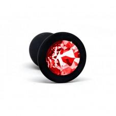 BQS - Svart Silikonbuttplug med Rød Krystall - Liten